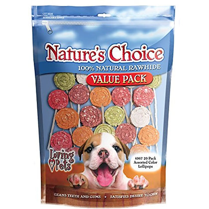 Loving Pets 4967 Nature'S Choice 100-Percent Natural Rawhide Lollipop With Twist