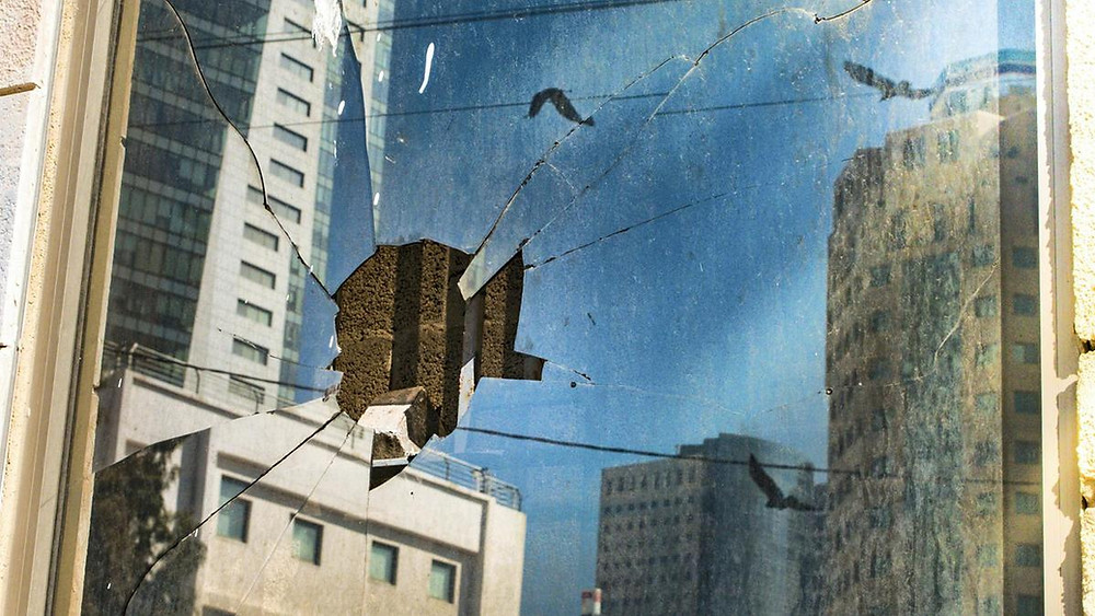 Shattered window