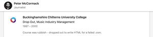 LinkedIn profile dropout Peter McCormack