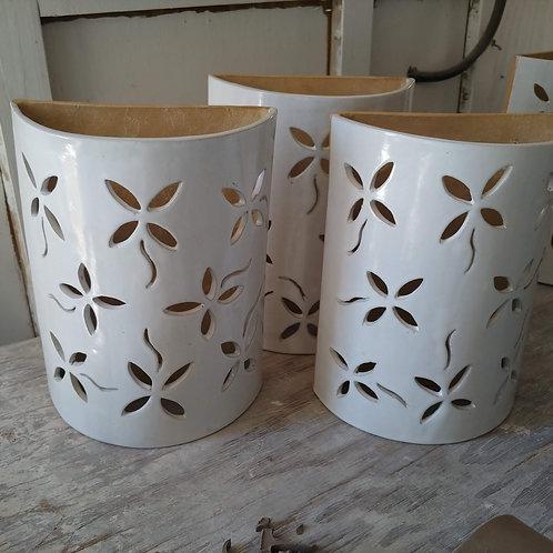 """12"""" Sconce Flower Design - White"""