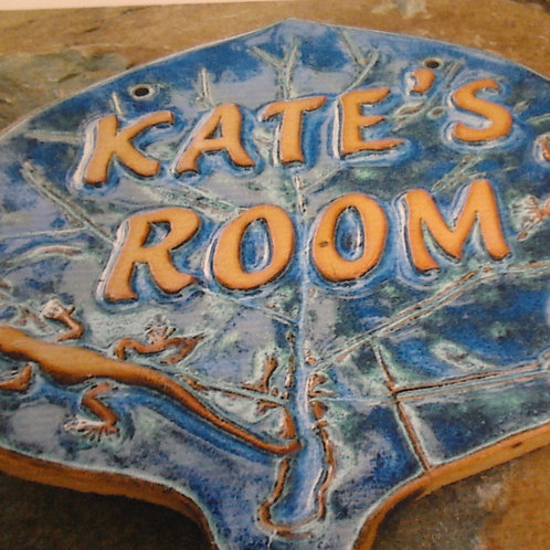 Room Sign - Raised Lettering - Natural Letter Finish