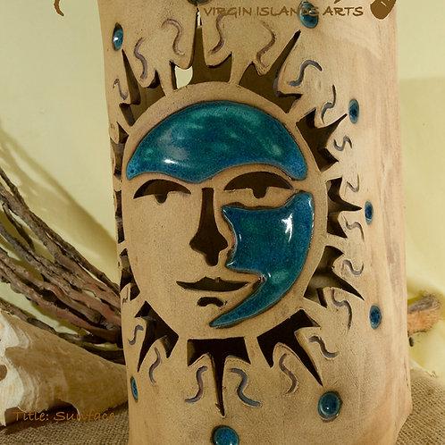 """12"""" Sconce Sunface Design - Tamarind & Seagrape"""