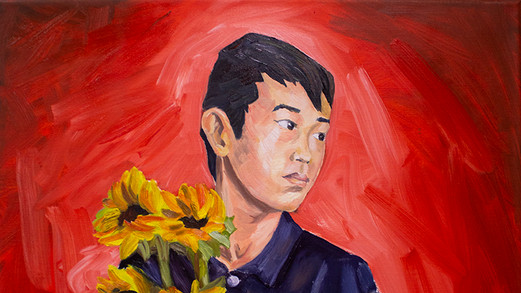 Boy with Sunflowers
