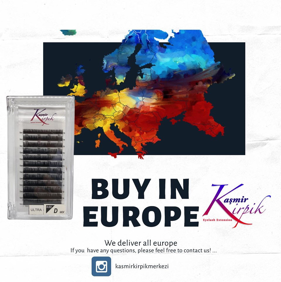 ıf you want buy kaşmir kirpik in europe please feel free contact to us. we deliver lashes to all europe aproximately in 4-7 -days except kosova and albania and cyprus . You can buy kaşmir kirpik from our local office @kasmirkirpikkosova in Kosova and albania @zenobiabeautyatelier in cyprus . We are using only DHL for international transport