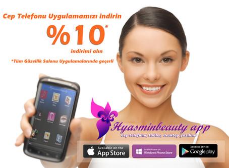 Hyasminbeauty App Cep Telefonu uygulamasını indir,Kalıcı Makyaj'da  % 10 İndirimi kap !!!