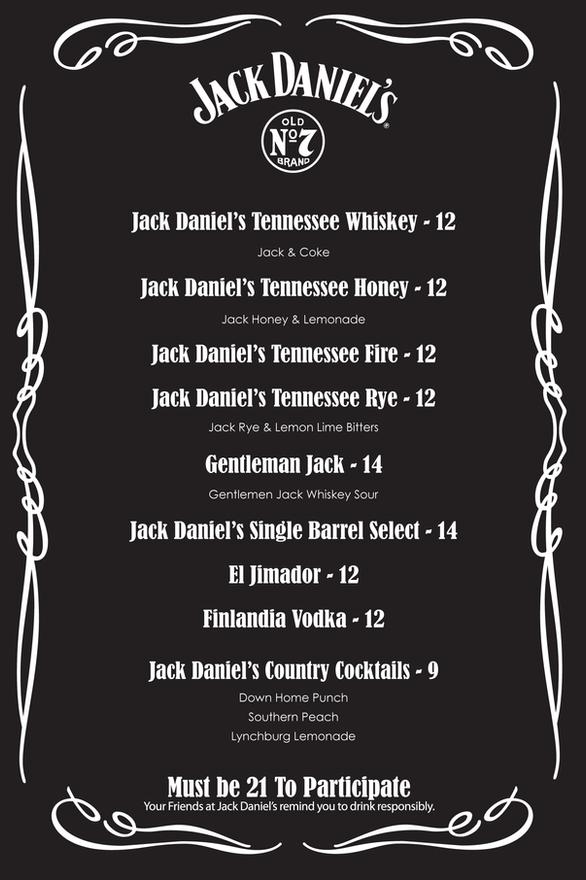 Jack Daniel's Drink Menu