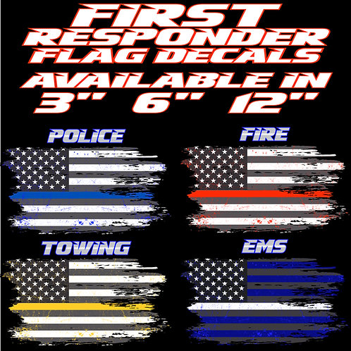 Grunge First Responder Flag Decals