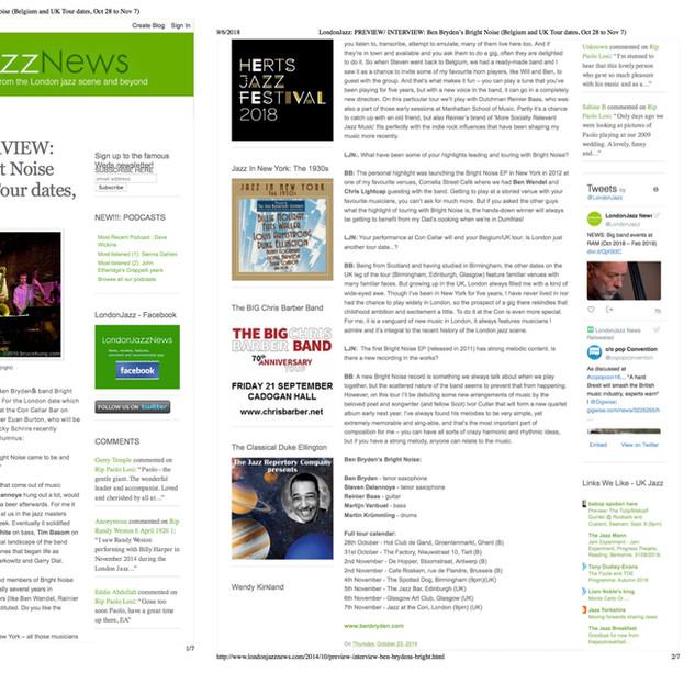 London Jazz News 2014