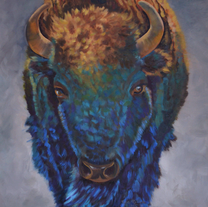 Thunder - Bison - oil 36 x 36