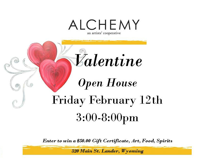 Please join us on February 12 for a fun afternoon and evening of art, food & spirits!  There will be plenty of unique gift ideas for that special someone!