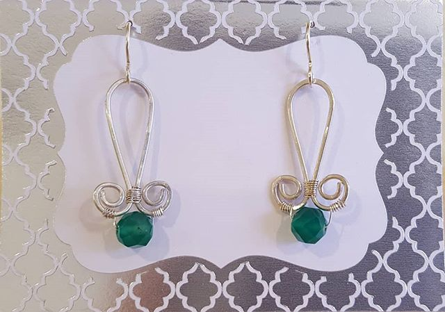 Hammered sterling silver and green chrysophase earrings by Stephanie Harris at wonderful Alchemy