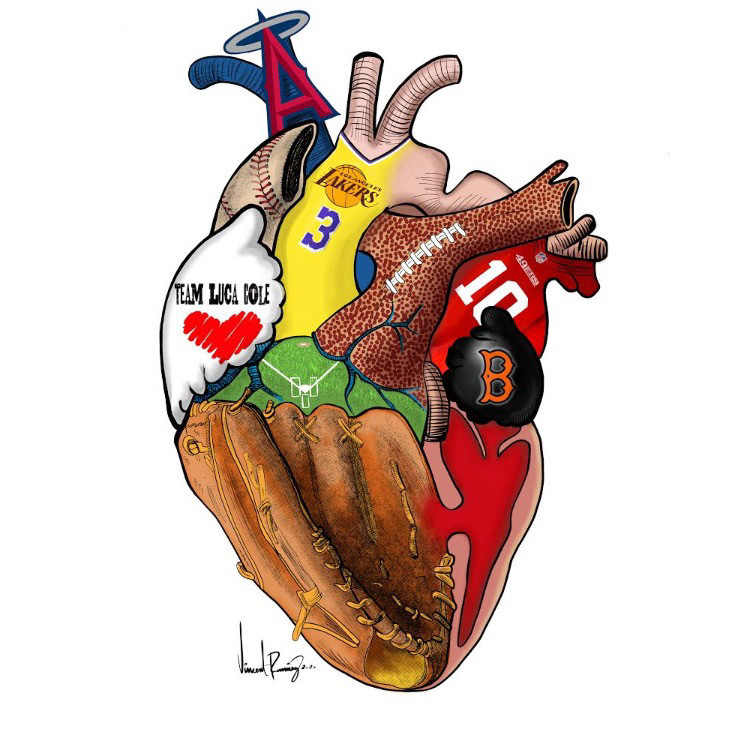 Sports Theme Heart Art