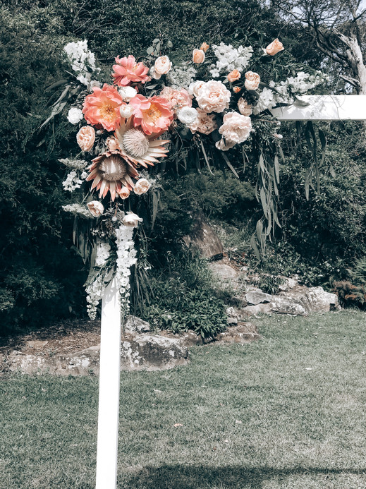 wedding arch at Mosman decorated with flowers