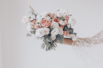 bridal bouquet in whites and nudes