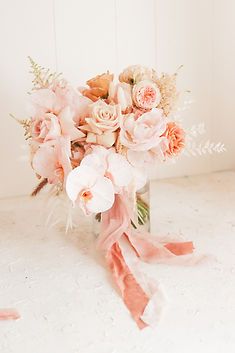 dusky garden roses in bridal bouquet