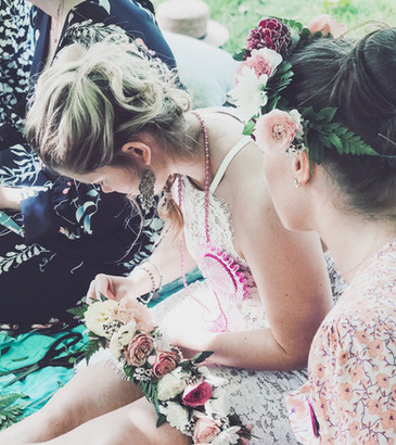 lady making a flower crown