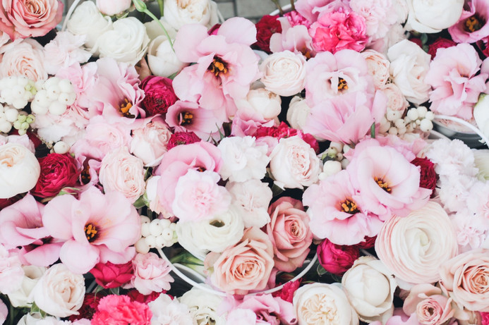 pink lisianthus and roses