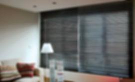 Wood venetian blinds in living room