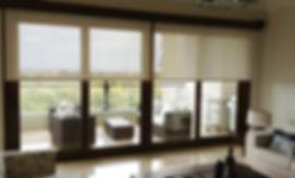 Roller blinds in living room