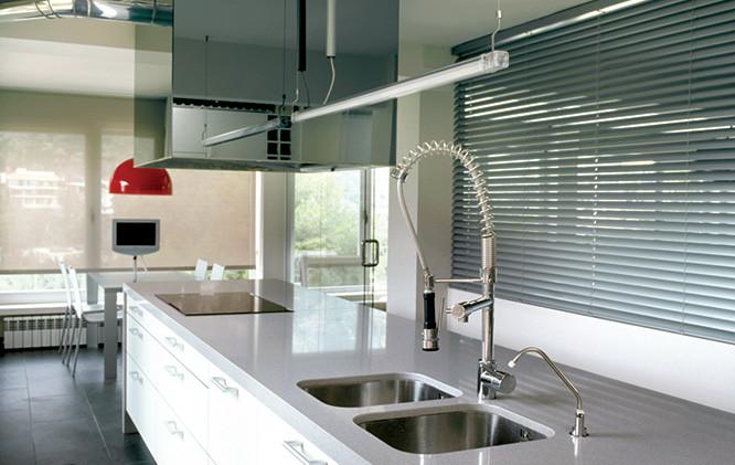 Cortina de aluminio en cocina