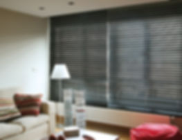 Wooden venetian blind in living room