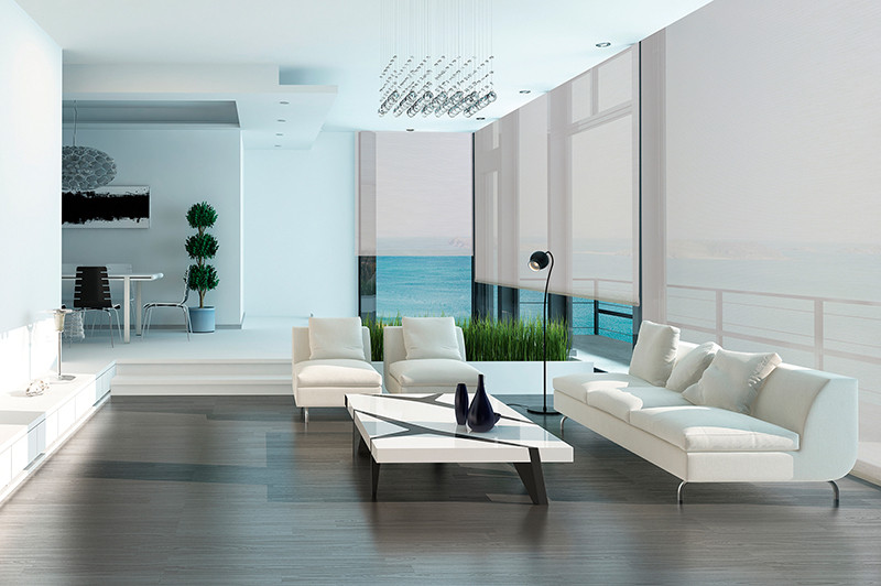 Solar screen translucido en sala moderna