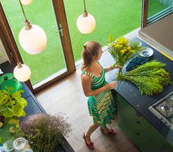 Cesped artificial Oryzon Arcadia en uso residencial