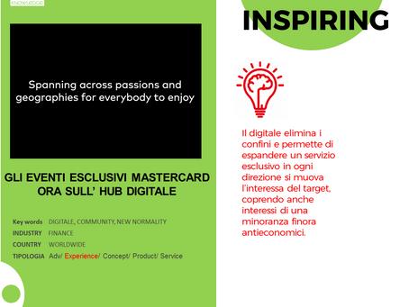 Gli eventi esclusivi Mastercard ora sull'hub digitale