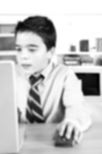 Young school boy using a mouse and lapto