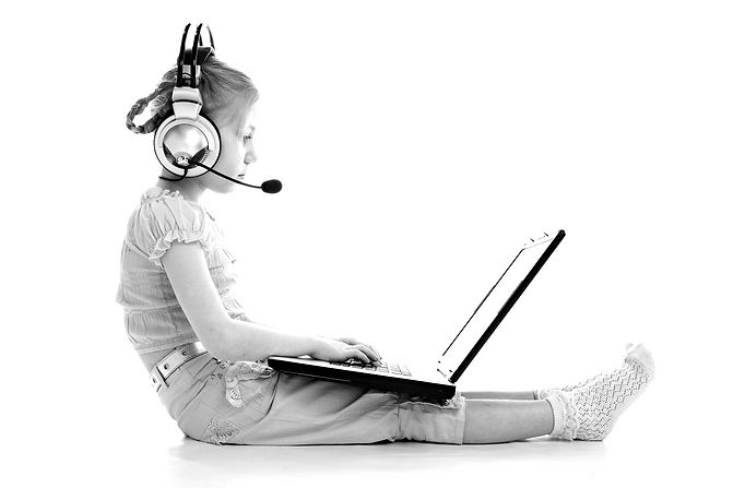 girlie in headphones with laptop isolate