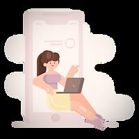 mobile device _ woman, girl, person, smartphone, laptop, computer, software, application_e
