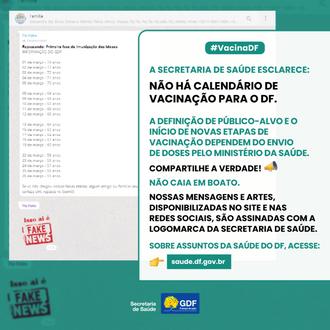 GDF alerta para fake news sobre vacinação em pessoas com 55 anos