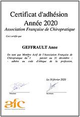 certificat chiropraxie