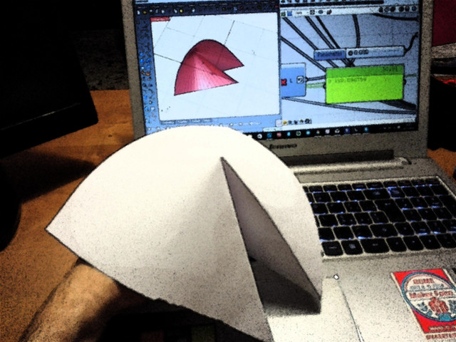 Conical folding surfaces in three steps