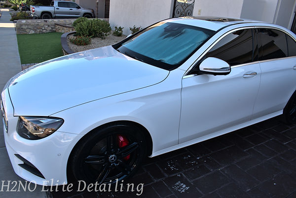 Full Driver side view of Paint Correction on an e-class mercedes
