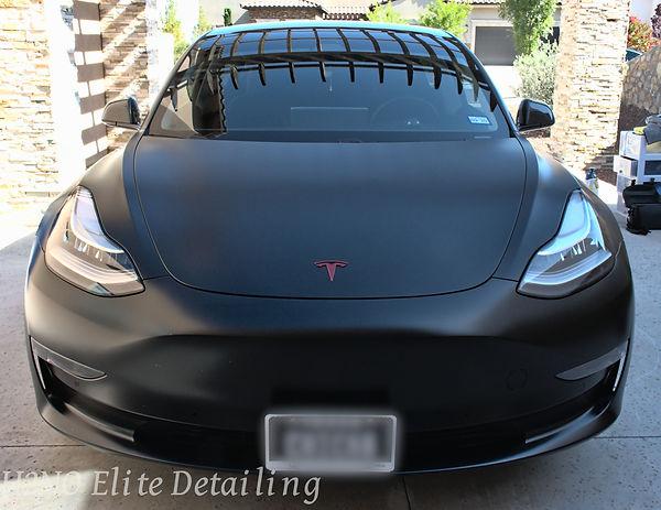 Full Front of Black Ceramic Coating Tesla in El Paso