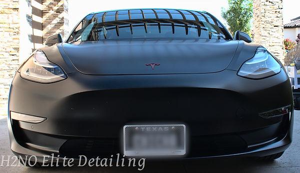 Black Tesla Hood Paint Correction in El Paso TX