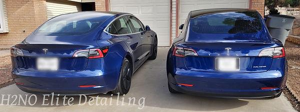Far rear view twin blue Tesla model 3s