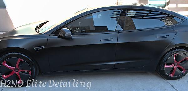 Black Tesla Side Paint Correction