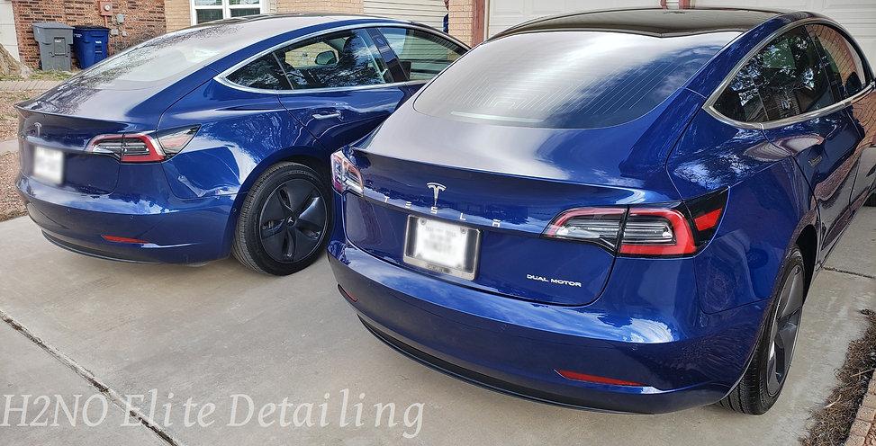 Rear angle twin blue Tesla model 3 paint correction