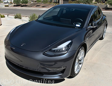 Silver Tesla Model 3 paint correction, ceramic coating, detailing in El Paso Texas