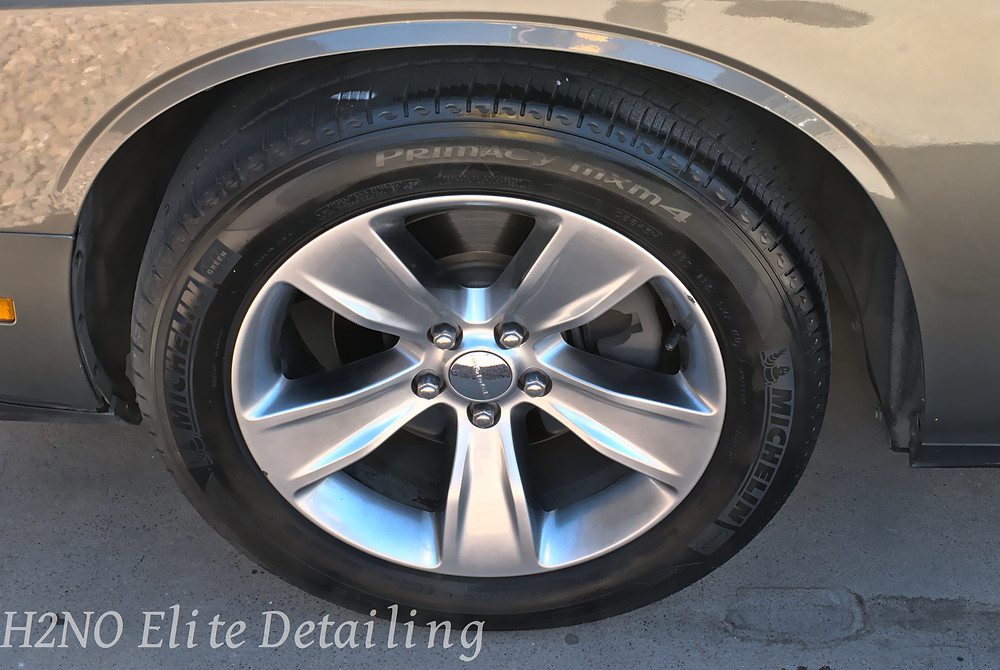 Detailed wheels of a dodge challenger