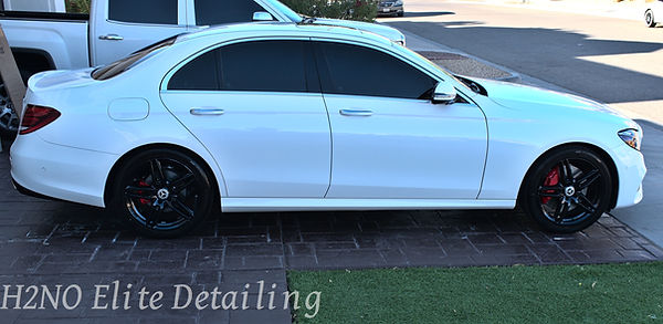 Full Passenger View of Paint Correction on an E-Class