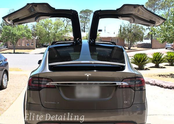 Model X open doors Ceramic Coating in El Paso
