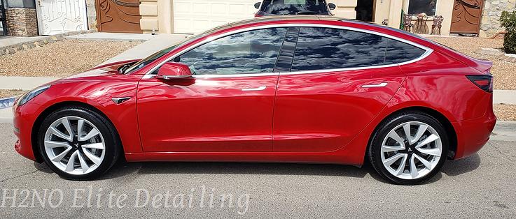Red Tesla Model 3 Detailed
