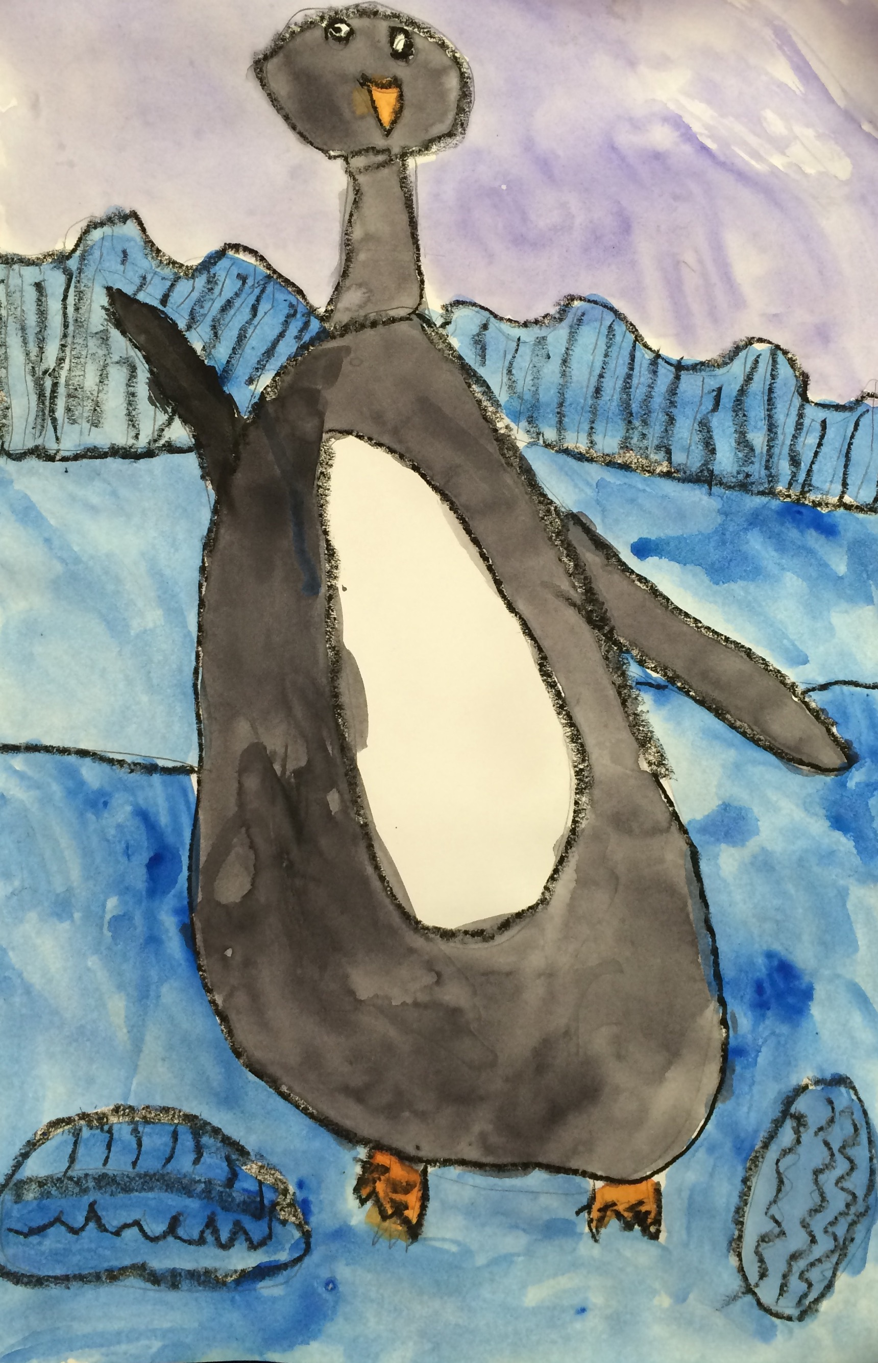 Penguin Watercolor Painting