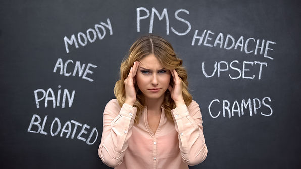 Woman suffering headache due to imaginar