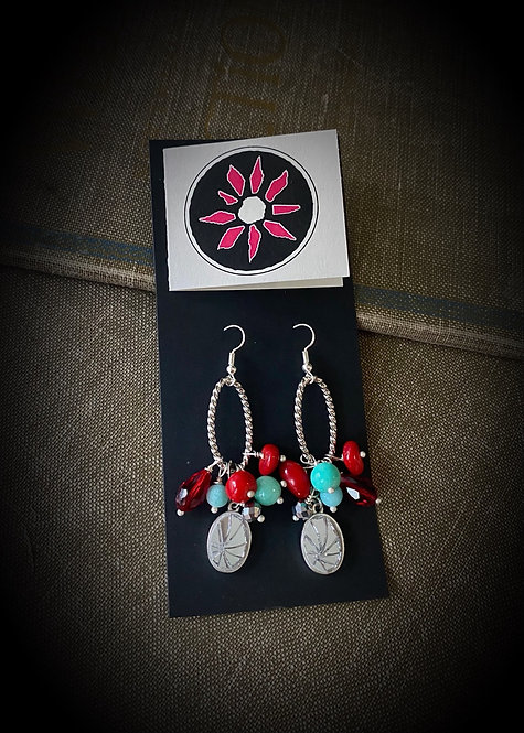 Mosaic Mirror Earrings - Red & Turquoise