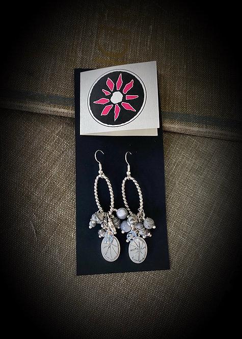 Mosaic Mirror Earrings - Gray &Silver