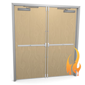 wood fire rated double doors